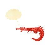 дракон шаржа средневековый с пузырем мысли Стоковое Фото