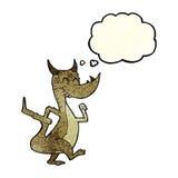 дракон шаржа счастливый с пузырем мысли Стоковое Изображение RF