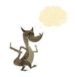 дракон шаржа счастливый с пузырем мысли Стоковая Фотография RF