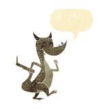 дракон шаржа счастливый с пузырем речи Стоковое Изображение