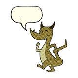 дракон шаржа счастливый с пузырем речи Стоковые Изображения