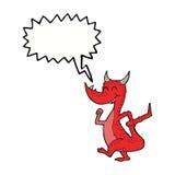 дракон шаржа счастливый с пузырем речи Стоковые Изображения RF