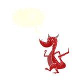 дракон шаржа счастливый с пузырем речи Стоковое Фото