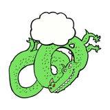 дракон шаржа с пузырем мысли Стоковые Фотографии RF