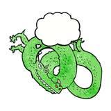 дракон шаржа с пузырем мысли Стоковая Фотография