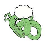 дракон шаржа с пузырем мысли Стоковые Фото