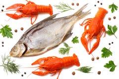 ракы при высушенные рыбы изолированные на белой предпосылке Концепция винзавода пива пиво предпосылки содержит сетку градиента стоковые фото