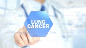 Рак легких, доктор работая на голографическом интерфейсе, графиках движения стоковое изображение rf