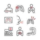 Рак легких Симптомы, причины, обработка Линия набор значков Знаки вектора для графиков сети стоковое изображение rf