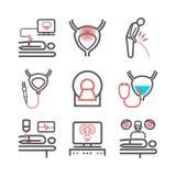 Рак мочевого пузыря Симптомы, причины, обработка Линия набор значков Знаки вектора для графиков сети стоковое изображение rf