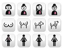 Рак молочной железы, женщина при розовые установленные кнопки ленты Стоковые Изображения RF