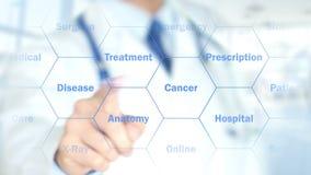 Рак молочной железы, доктор работая на голографическом интерфейсе, графиках движения бесплатная иллюстрация