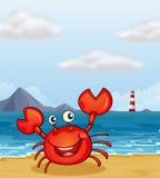Рак на seashore иллюстрация вектора