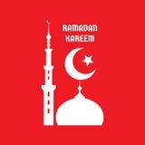 Рамазан Kareem - vector знак иллюстрации концепции на красной предпосылке Серповидная луна, звезда, мечеть, минареты vector иллюс Стоковое фото RF