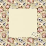 Рамка акварели квадратная с винтажными объектами бесплатная иллюстрация