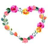 Рамка акварели флористическая в форме сердца Предпосылка с свежей листвой, яркими цветками и местом для текста стоковое фото