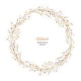 Рамка акварели круглая листьев и ветвей изолированных на белой предпосылке Стоковое Фото