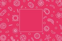 Рамка бактериальных клеток горизонтальная Иллюстрация плана вектора бесплатная иллюстрация