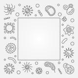 Рамка бактериальных клеток квадратная Линия иллюстрация концепции вектора иллюстрация штока
