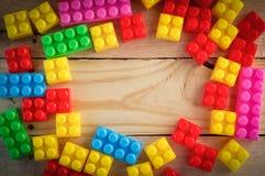 Рамка блоков игрушки кучи пластичных Стоковые Изображения RF