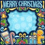 Рамка вектора для с Рождеством Христовым иллюстрация штока
