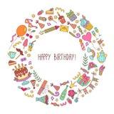 Рамка вектора значков doodle дня рождения круглая декоративная Стоковое Изображение RF