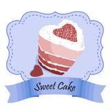 Рамка вектора дизайна с красными тортом и печеньями бархата Иллюстрация вектора EPS 10 Стоковое Изображение