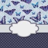 Рамка вектора ретро винтажная с бабочками Стоковая Фотография