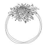 Рамка вектора с листьями и цветками Концепция для приглашения Стоковые Изображения