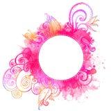 Рамка вектора с розовыми doodles акварели Стоковые Фотографии RF