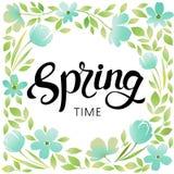 Рамка весны цветков и листьев Пастельные цвета весны нежные Конструируйте для плаката, карточки, приглашения, плаката, брошюры Иллюстрация штока