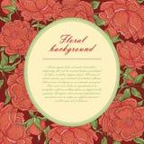 Рамка винтажного вектора овальная с бургундскими пионами Бутоны, ветви и листья цветка на темноте - красные предпосылка и место Стоковые Изображения RF