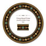 Рамка винтажных круглых ретро украшений рамки 038 золотая иллюстрация вектора
