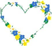 Рамка в форме сердца сделанной из цветков Стоковое Фото