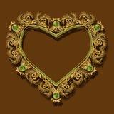 Рамка в форме цвета золота сердца с тенью Стоковое Изображение RF