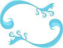 Рамка голубых свирлей, спиралей и кец Стоковая Фотография
