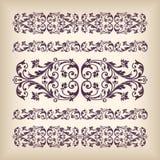 Рамка границы вектора установленная винтажная богато украшенная с ретро patte орнамента Стоковое фото RF