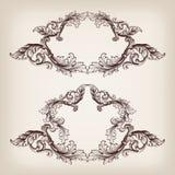 Рамка границы года сбора винограда установленная гравируя барочный вектор Стоковые Фото