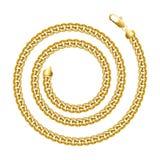 Рамка границы золотой цепи круглая спиральная Форма круга венка иллюстрация вектора
