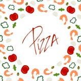 Рамка границы предпосылки с ингридиентами пиццы иллюстрация штока