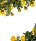 Рамка границы рождества ветви ели на белой изолированной предпосылке Стоковая Фотография RF
