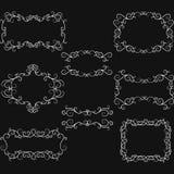 Рамка границы свирли эффектной демонстрации доски нарисованная вручную Элементы дизайна свирлей Стоковое Изображение