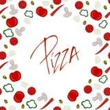 Рамка границы с различными ингридиентами пиццы иллюстрация штока