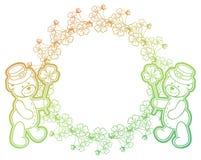 Рамка градиента с shamrock и милым плюшевым медвежонком Искусство зажима растра Стоковое Изображение