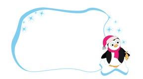 Рамка для текста с пингвином мультфильма на ледяном поле Рамка детей для текста Рамка младенца вектора для вашего текста Рамка шк бесплатная иллюстрация