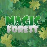 Рамка для украшения текста Заколдованный лес с зеленым кленовым листом - шаржем иллюстрация вектора