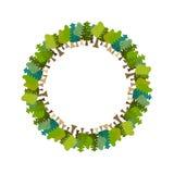 Рамка дерево круглое солнечний свет дуба пущи конструкции граници предпосылки осени жолудей Фон природы иллюстрация вектора