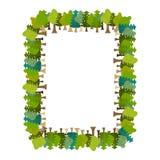 Рамка дерево прямоугольное солнечний свет дуба пущи конструкции граници предпосылки осени жолудей Фон природы иллюстрация вектора