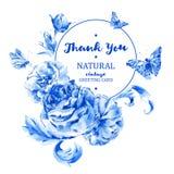 Рамка лета винтажная круглая с голубыми розами иллюстрация вектора
