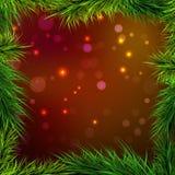Рамка елевая и света предпосылки красно-апельсина, Стоковые Фотографии RF